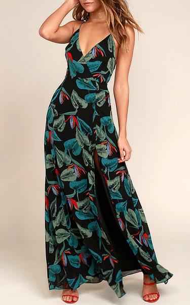 23e7e9062203 Birds of Paradise Black Floral Print Maxi Dress - Best Maxi Dress