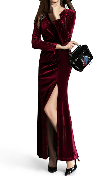 364f04c7da Burgundy Velvet Wrap Maxi Dress by Vivian - Best Maxi Dress