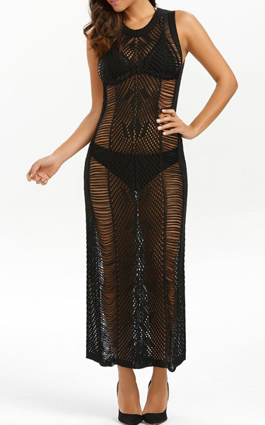 See Through Crochet Maxi Knit Dress From Gamiss Best