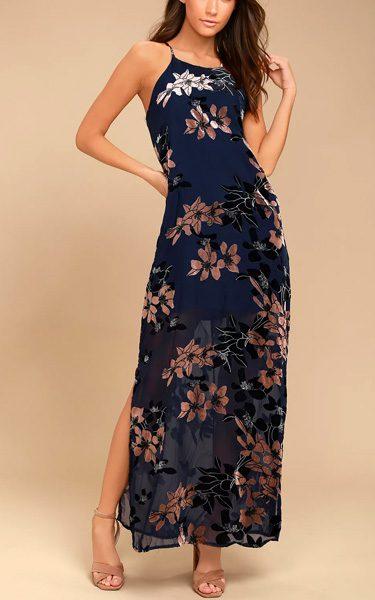 bea418833705 Moonflower Navy Blue Velvet Floral Print Maxi Dress - Best Maxi Dress