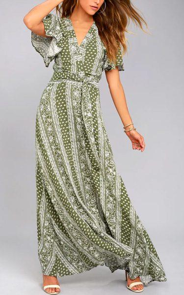 Sage The Label Catalina Olive Green Print Maxi Dress