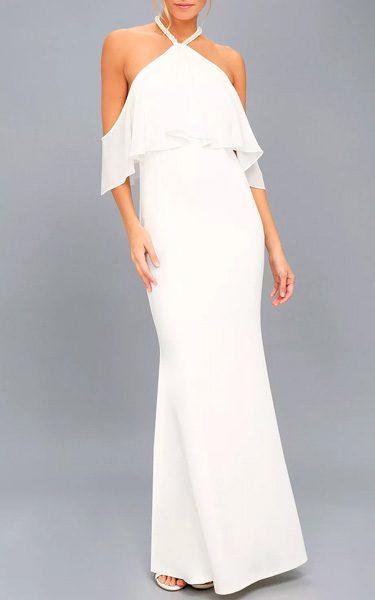 e7d58ddf48d Pearls Of Wisdom White Pearl Off The Shoulder Maxi Dress