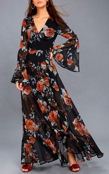 Petals On The Breeze Black Floral Print Maxi Dress bf42d7175