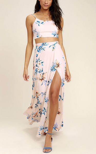 a9483af6eb Barefoot At The Beach Light Peach Print Two Piece Maxi Dress - Best ...