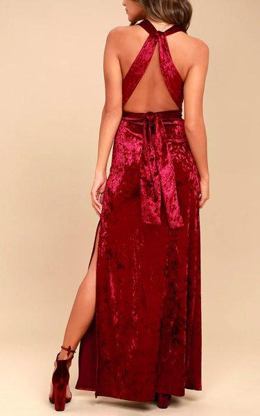 e2ce3211463ba Dreams of Sheen Burgundy Velvet Convertible Maxi Dress