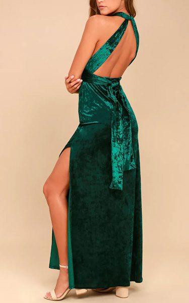 4072d0a40e9 Dreams of Sheen Forest Green Velvet Convertible Maxi Dress